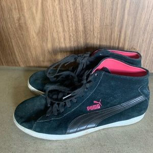 Black and pink suede puma high tops
